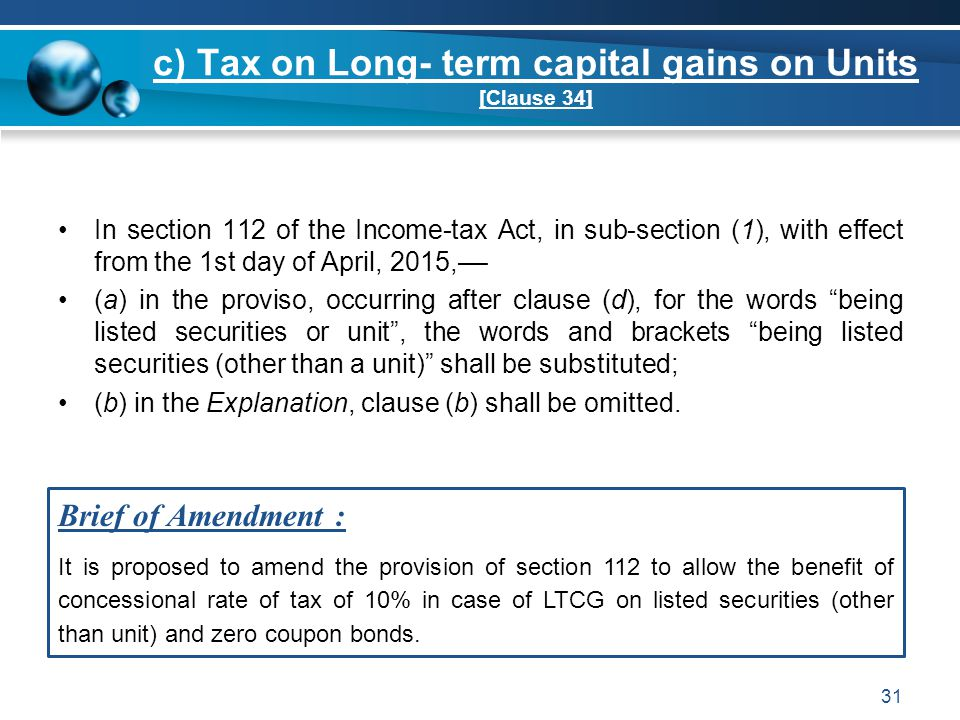 c) Tax on Long- term capital gains on Units [Clause 34]